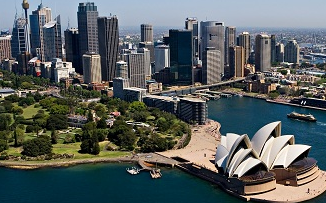 Arial view of downtown Sydney, Australia