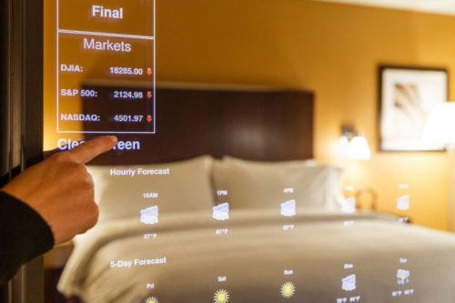 smart mirror technology being used in hotel room